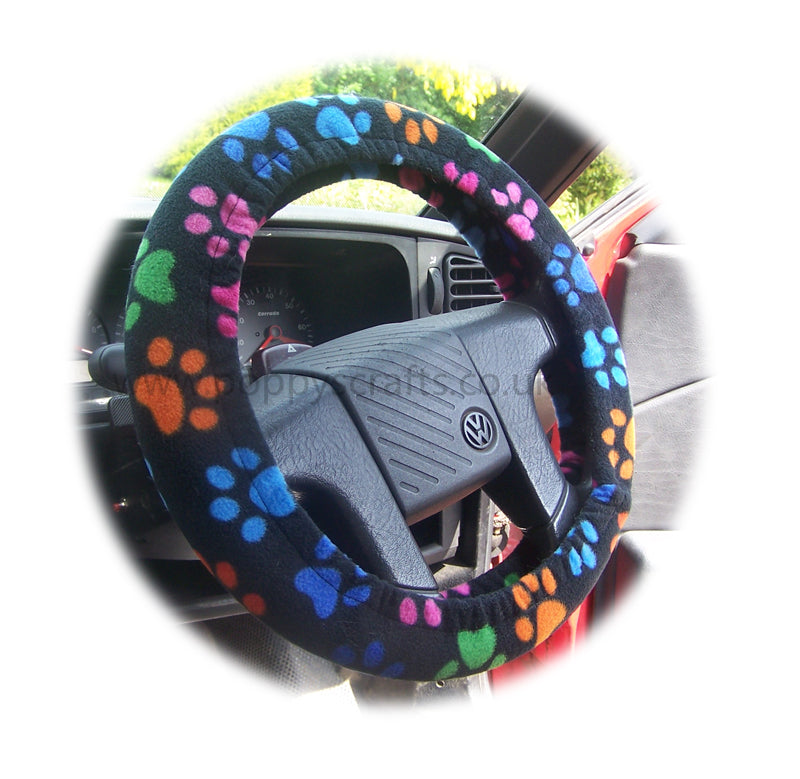 Black with multi-coloured Paw print fleece car steering wheel cover - Poppys Crafts