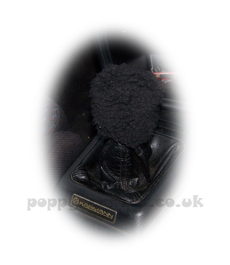 Black Sherpa fleece faux fur Sheep Skin Gear knob stick shift cover - Poppys Crafts
