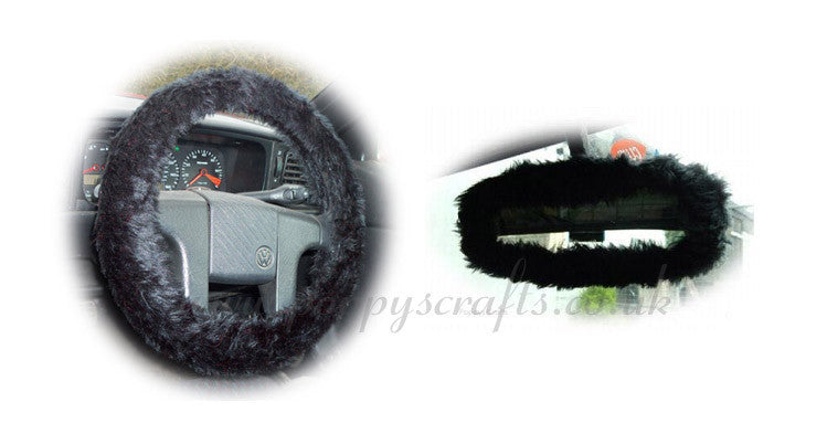 Black fuzzy faux fur steering wheel cover with cute matching rearview mirror cover - Poppys Crafts