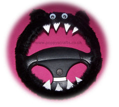 Fluffy Black Monster Car Steering wheel cover & fuzzy black seatbelt pad set - Poppys Crafts  - 2