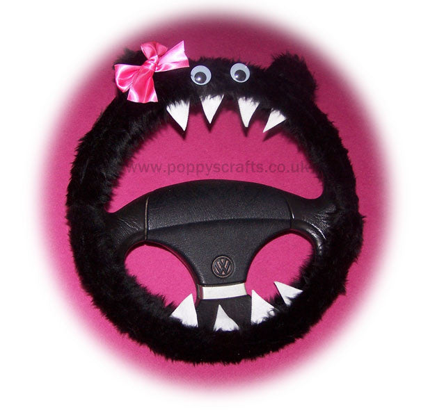 Fuzzy Black faux fur monster car steering wheel cover with cute pink bow - Poppys Crafts