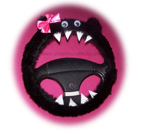 Fuzzy Black faux fur monster car steering wheel cover with cute pink bow