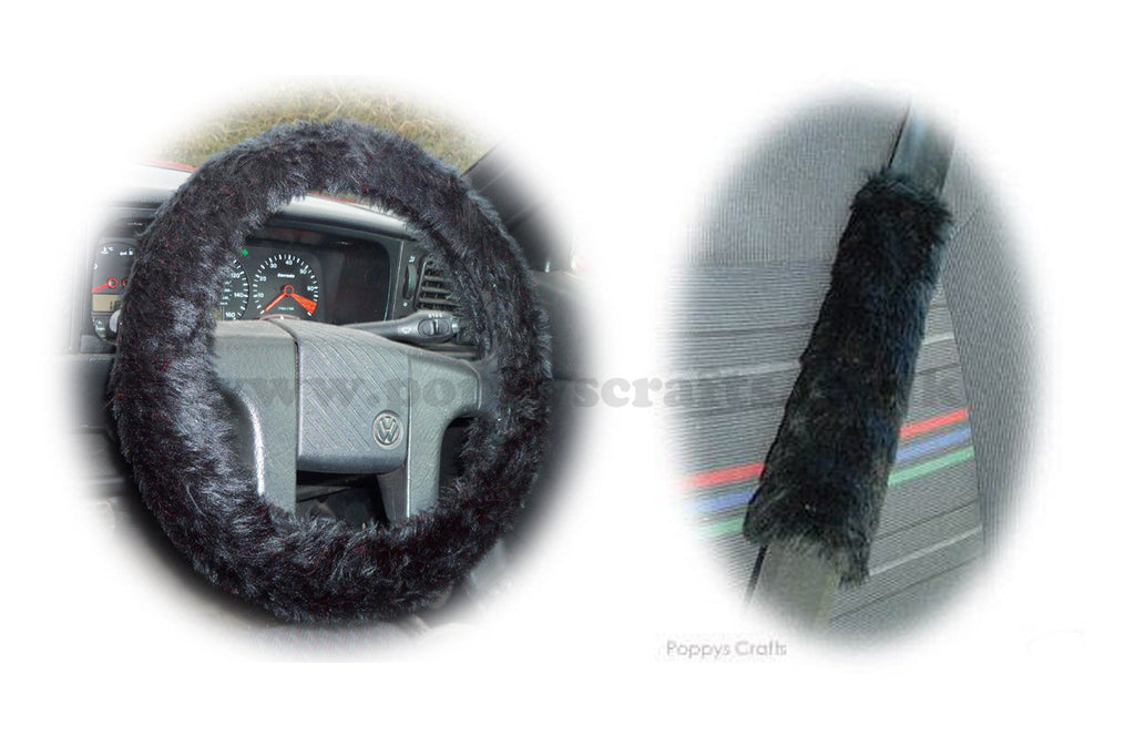 Black fluffy steering wheel cover and matching faux fur seatbelt pads - Poppys Crafts