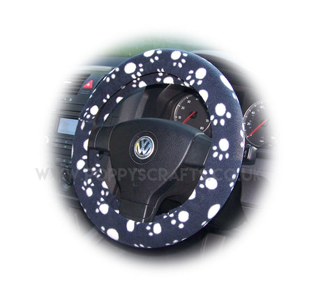 Black with white Paws paw print fleece car steering wheel cover