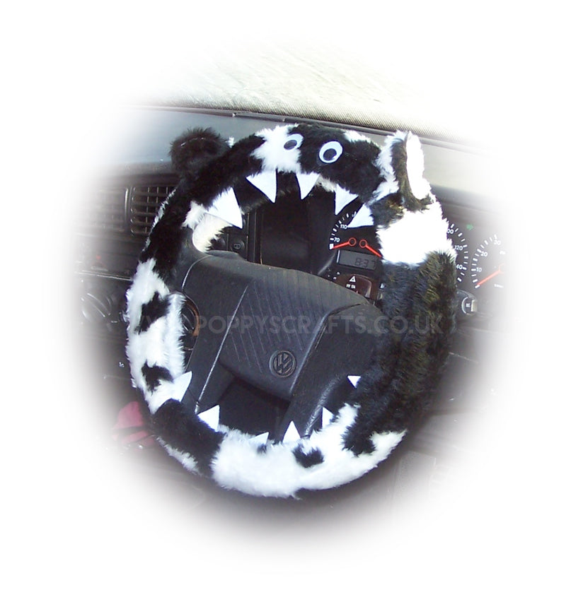 Black and white cow print faux fur fuzzy monster car steering wheel cover - Poppys Crafts