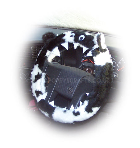 Black and white cow print faux fur fuzzy monster car steering wheel cover