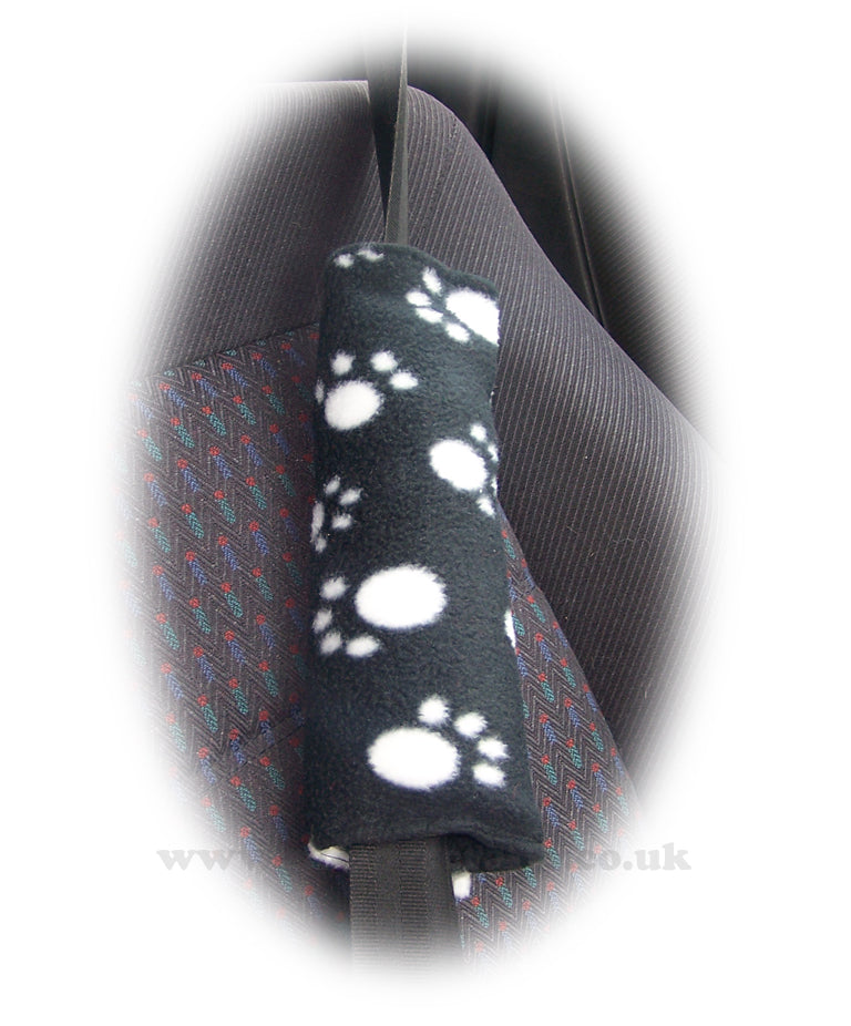 Black and White paw print fleece car seatbelt pads 1 pair - Poppys Crafts