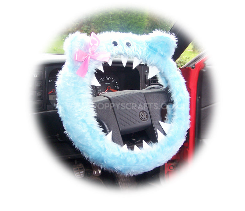 Fuzzy Baby blue faux fur monster car steering wheel cover with cute pink bow - Poppys Crafts
