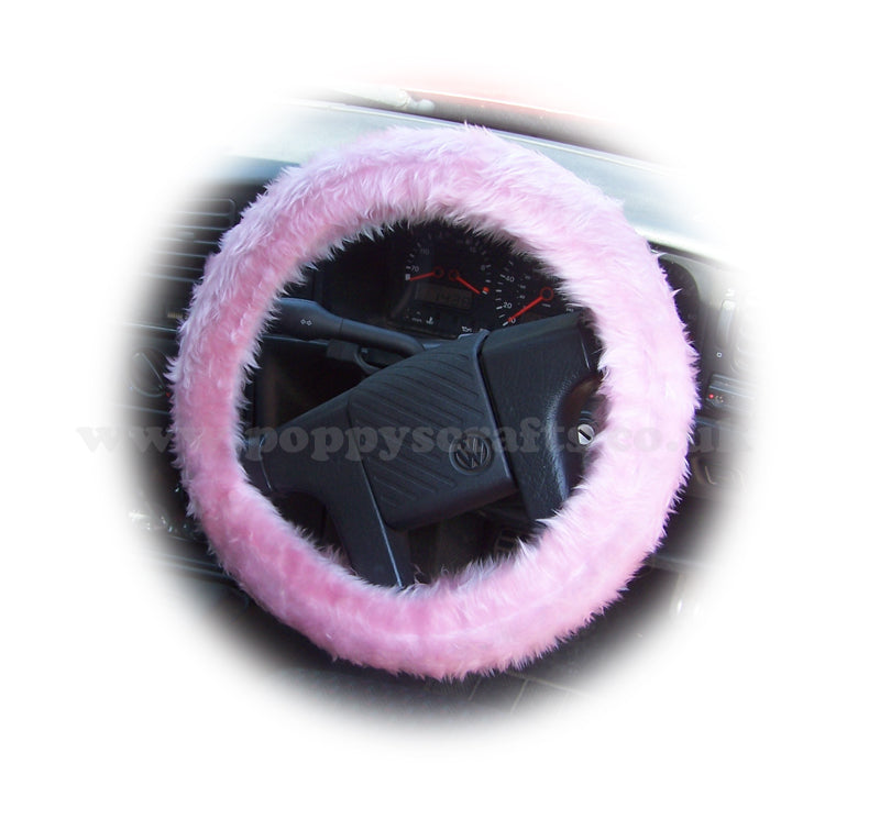 Blossom pink fuzzy faux fur car Steering wheel cover - Poppys Crafts