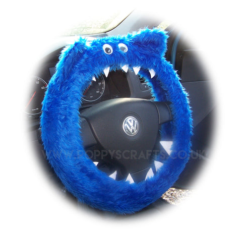Royal Blue fluffy Monster car steering wheel cover with googly eyes, ears and teeth