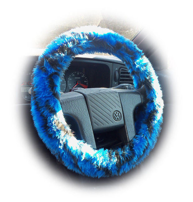 Royal Blue and Black fuzzy tiger stripe car steering wheel cover - Poppys Crafts
