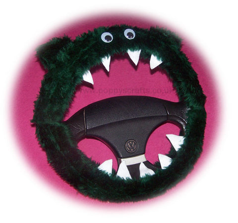 Dark Green fuzzy Monster steering wheel cover