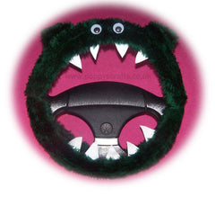 Dark Green Monster steering wheel cover - Poppys Crafts