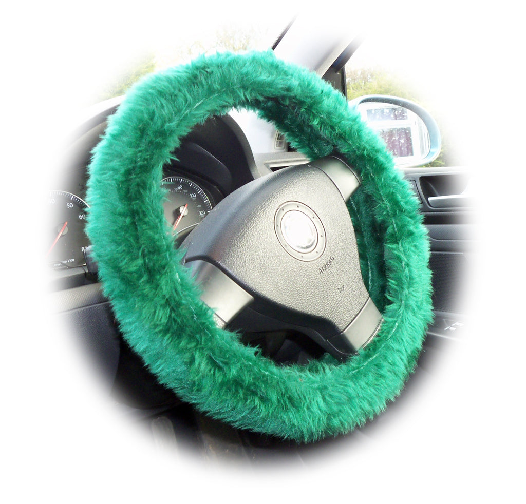 Bottle Green fuzzy faux fur steering wheel cover - Poppys Crafts