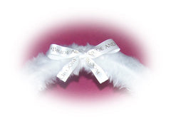 Bride & Groom Bow fluffy white wedding faux fur fuzzy car steering wheel cover - Poppys Crafts  - 2