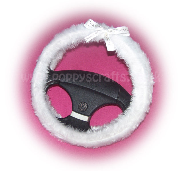 Bride & Groom Bow fluffy white wedding faux fur fuzzy car steering wheel cover - Poppys Crafts  - 1