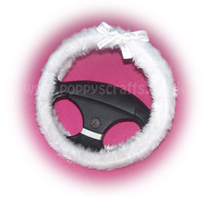 Bride & Groom Bow fluffy white wedding faux fur fuzzy car steering wheel cover - Poppys Crafts