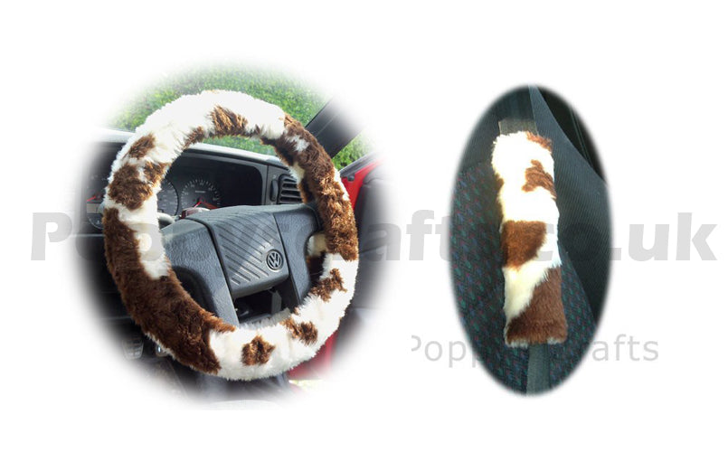 Brown and White Cow print fuzzy Car Steering wheel cover & matching faux fur seatbelt pad set - Poppys Crafts