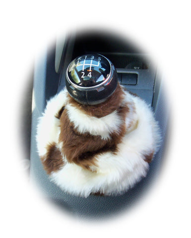 Brown and cream cow print faux fur fluffy gear stick gaiter cover