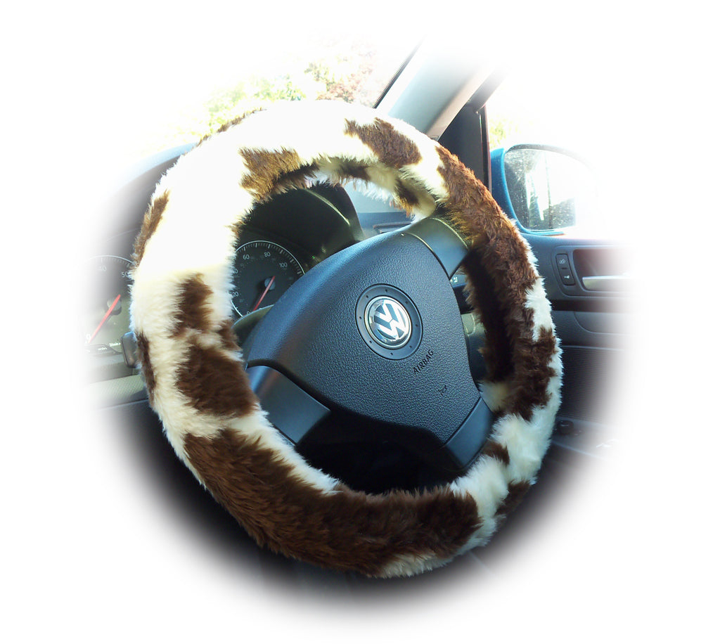 Brown and cream Cow print fuzzy car steering wheel cover - Poppys Crafts