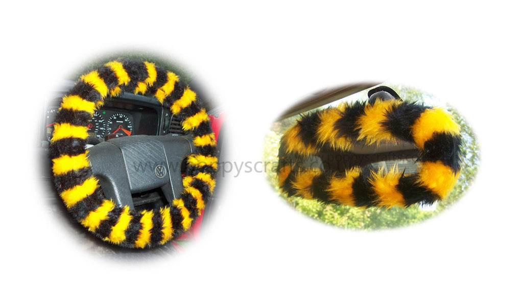 Bumble Bee Stripe Fuzzy Steering Wheel Cover With Cute Matching Rear View Interior Mirror Cover