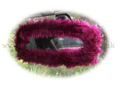 Burgundy red faux fur rear view interior car mirror cover - Poppys Crafts