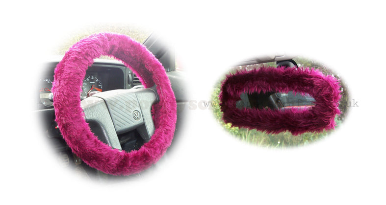 Burgundy Red Fuzzy Steering Wheel Cover With Cute Matching Rear View Mirror Cover