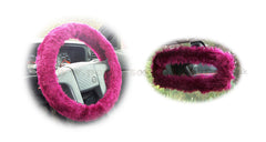 Burgundy Red fuzzy steering wheel cover with cute matching rear view mirror cover - Poppys Crafts