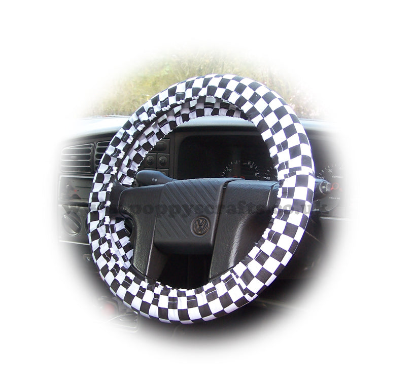 Black and White Check Cotton car steering wheel cover - Poppys Crafts