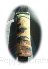 Camouflage Print Fleece Car Steering Wheel Cover & Matching Seatbelt Pad Set
