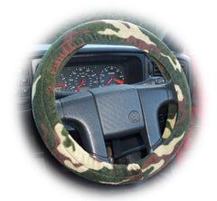 Camouflage print Fleece Car Steering wheel cover & matching seatbelt pad set - Poppys Crafts