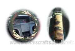 Camouflage print Fleece Car Steering wheel cover & matching seatbelt pad set - Poppys Crafts  - 1