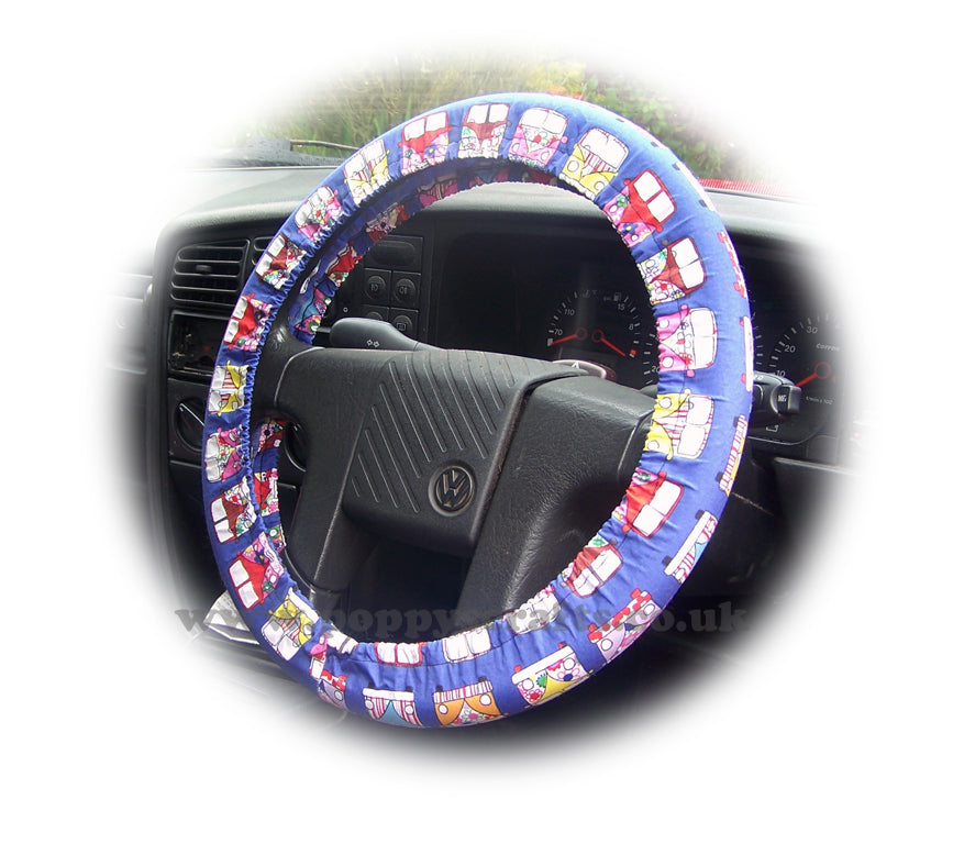 multi-coloured Campervan cotton car steering wheel cover - Poppys Crafts