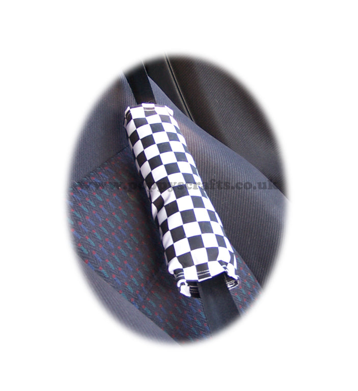 Black and White Check Chequered cotton seatbelt pads 1 pair - Poppys Crafts