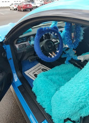 Royal Blue Monster steering wheel cover in Cookie Monster car - Poppys Crafts