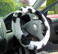Cow Print fuzzy faux fur steering wheel cover - Poppys Crafts