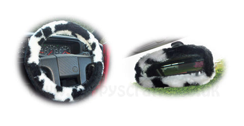 Cow Print fuzzy steering wheel cover with cute matching rear view interior mirror cover