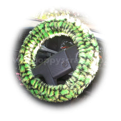 Green Crocodile print fuzzy car steering wheel cover - Poppys Crafts