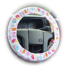 Cute cupcake print cotton Car Steering wheel cover & matching seatbelt pad set - Poppys Crafts  - 2