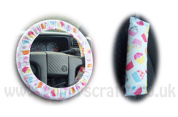Cute cupcake print cotton Car Steering wheel cover & matching seatbelt pad set - Poppys Crafts  - 1