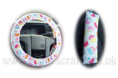 Cute cupcake cotton Car Steering wheel cover & matching seatbelt pad set - Poppys Crafts
