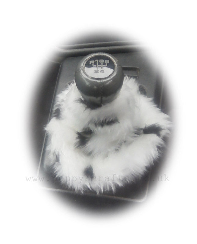 Dalmatian Spot Black and white faux fur fluffy gear stick gaiter cover - Poppys Crafts