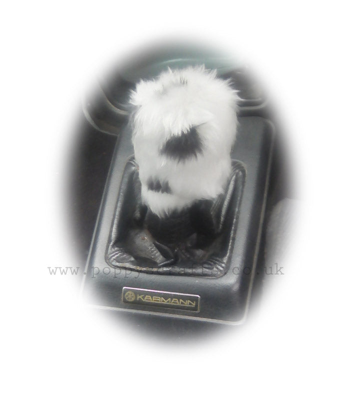 Dalmatian Spot fluffy black and white gear knob cover - Poppys Crafts