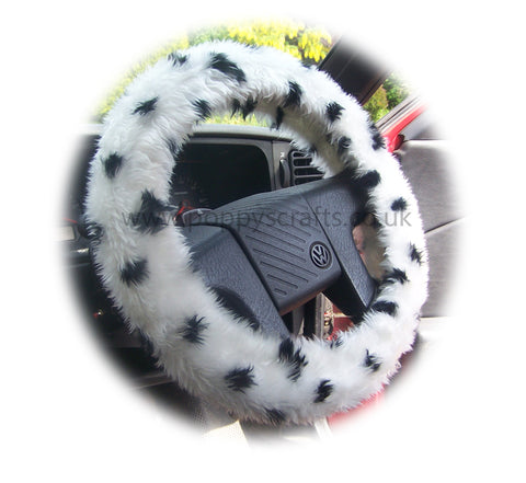 Black and white fuzzy Dalmatian spot car steering wheel cover