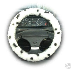 Dalmatian Spot fuzzy Car Steering wheel cover & matching faux fur seatbelt pad set - Poppys Crafts  - 2