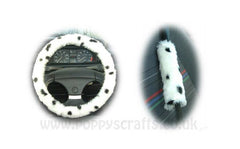 Dalmatian Spot fuzzy Car Steering wheel cover & matching faux fur seatbelt pad set - Poppys Crafts  - 1