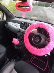 Barbie Pink fuzzy steering wheel cover with pink faux fur rear view mirror cover and fluffy pink gear knob cover in customer car