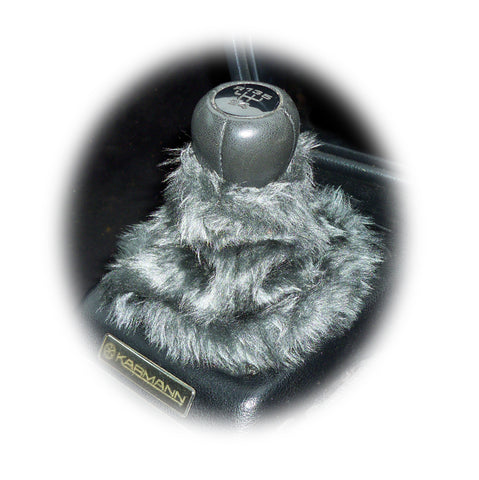 Dark grey fuzzy faux fur gear stick gaiter cover