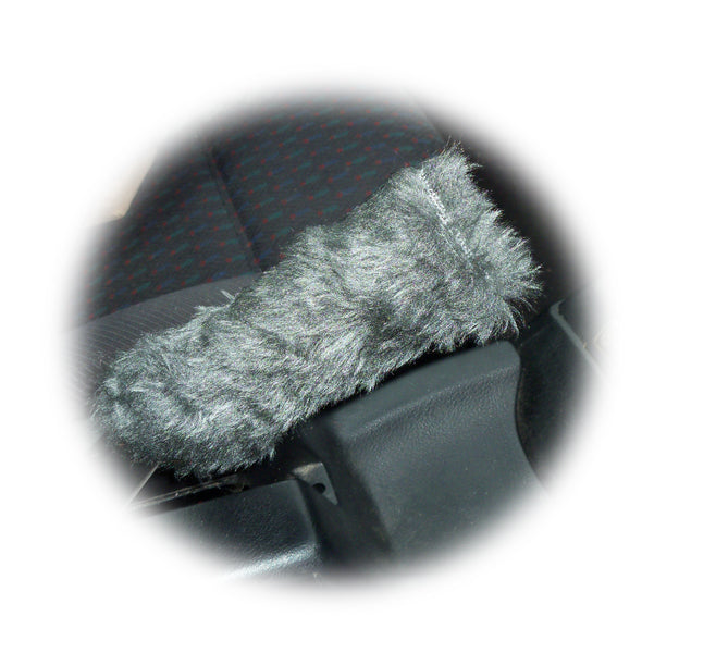 Fuzzy faux fur Dark grey Handbrake cover cute