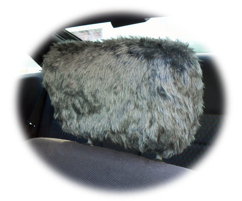 Dark Grey fluffy faux fur car headrest covers 1 pair